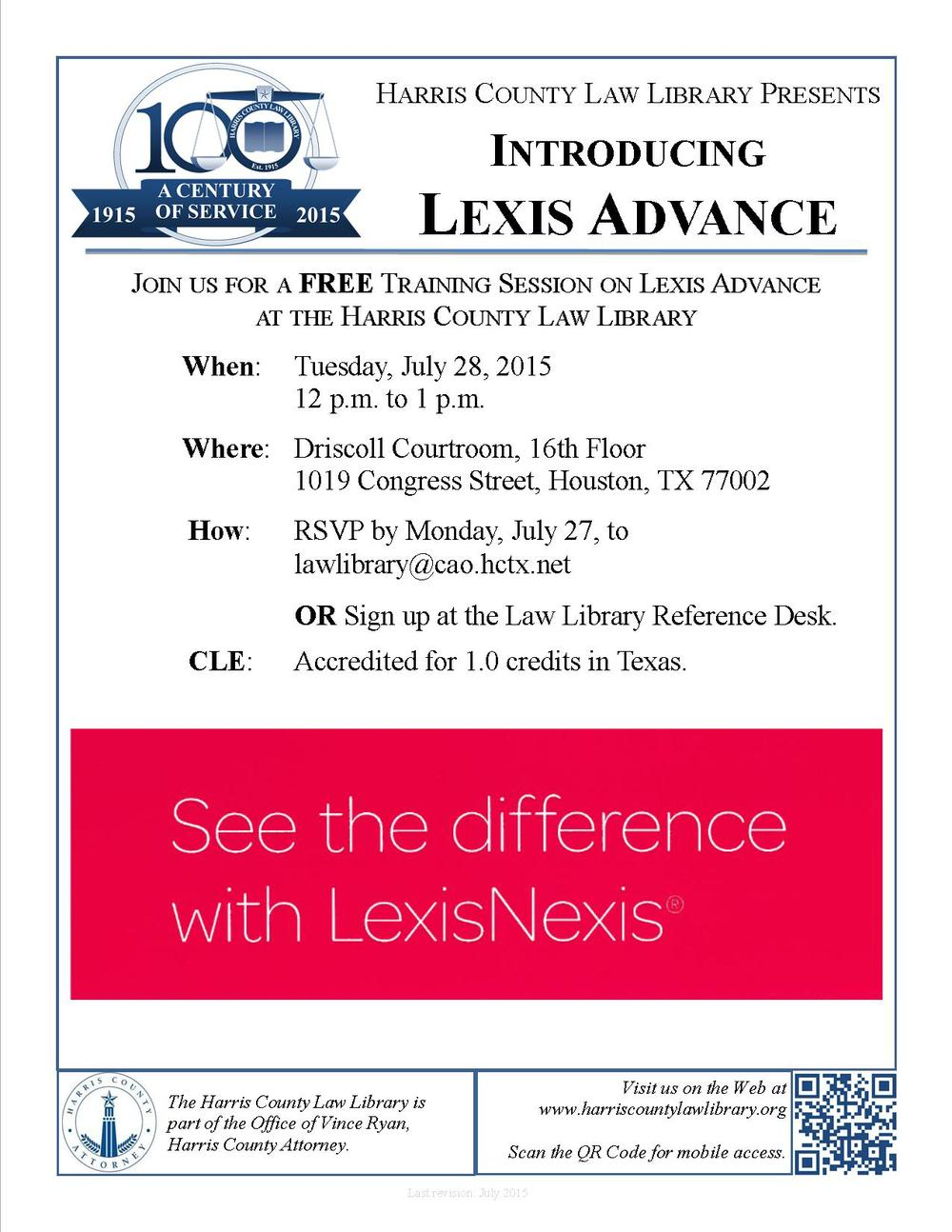 Flyer for Lexis Advance CLE at Harris County Law Library