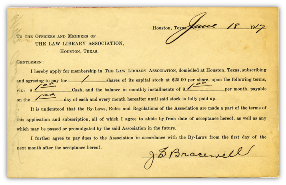 Lawyers Library Association membership card signed by J.S. Bracewell, as original founder of the Houston-based law firm Bracewell & Guiliani
