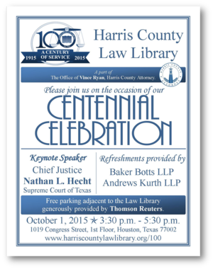 Centennial celebration harris county law library the harris county law library first opened its doors to the public on october 1 1915 on october 1 2015 we will have a centennial celebration at the law solutioingenieria Images