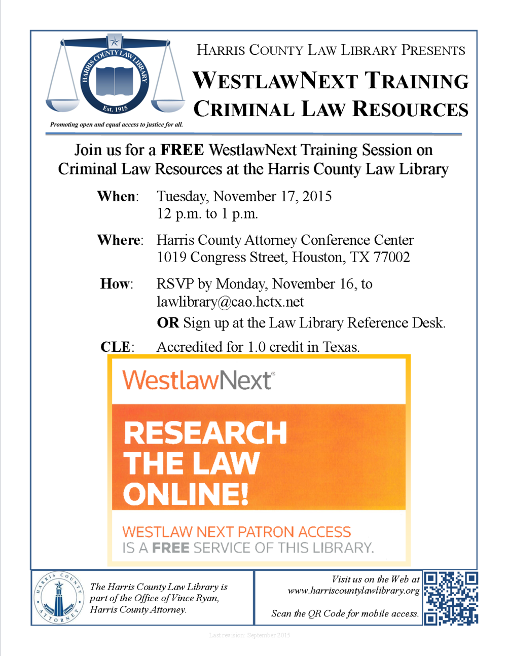Click to download flyer for our November 17 WestlawNext CLE.