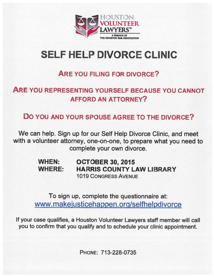Houston volunteer lawyers self help divorce clinic harris county click to visit houston volunteer lawyers registration page solutioingenieria Images