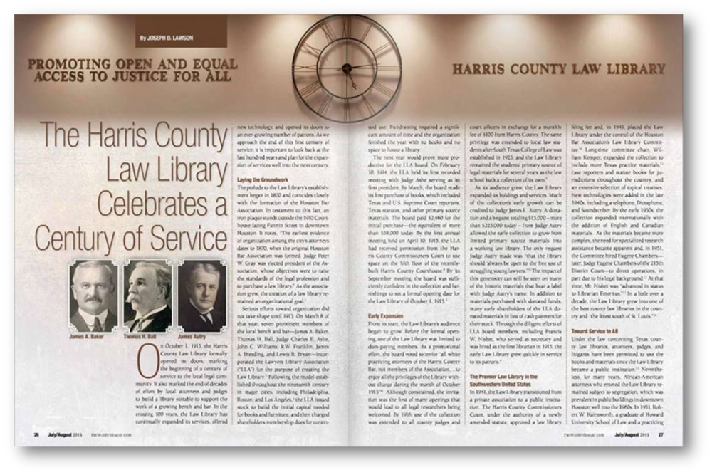 "Article titled ""The Harris County Law Library Celebrates a Century of Service"" printed in The Houston Lawyer"