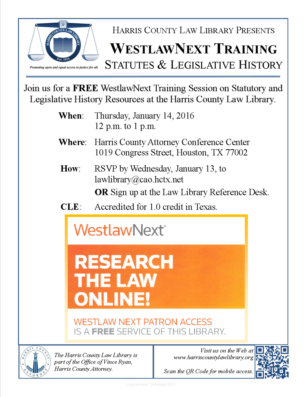 Link to flyer for WestlawNext CLE on January 14, 2016.