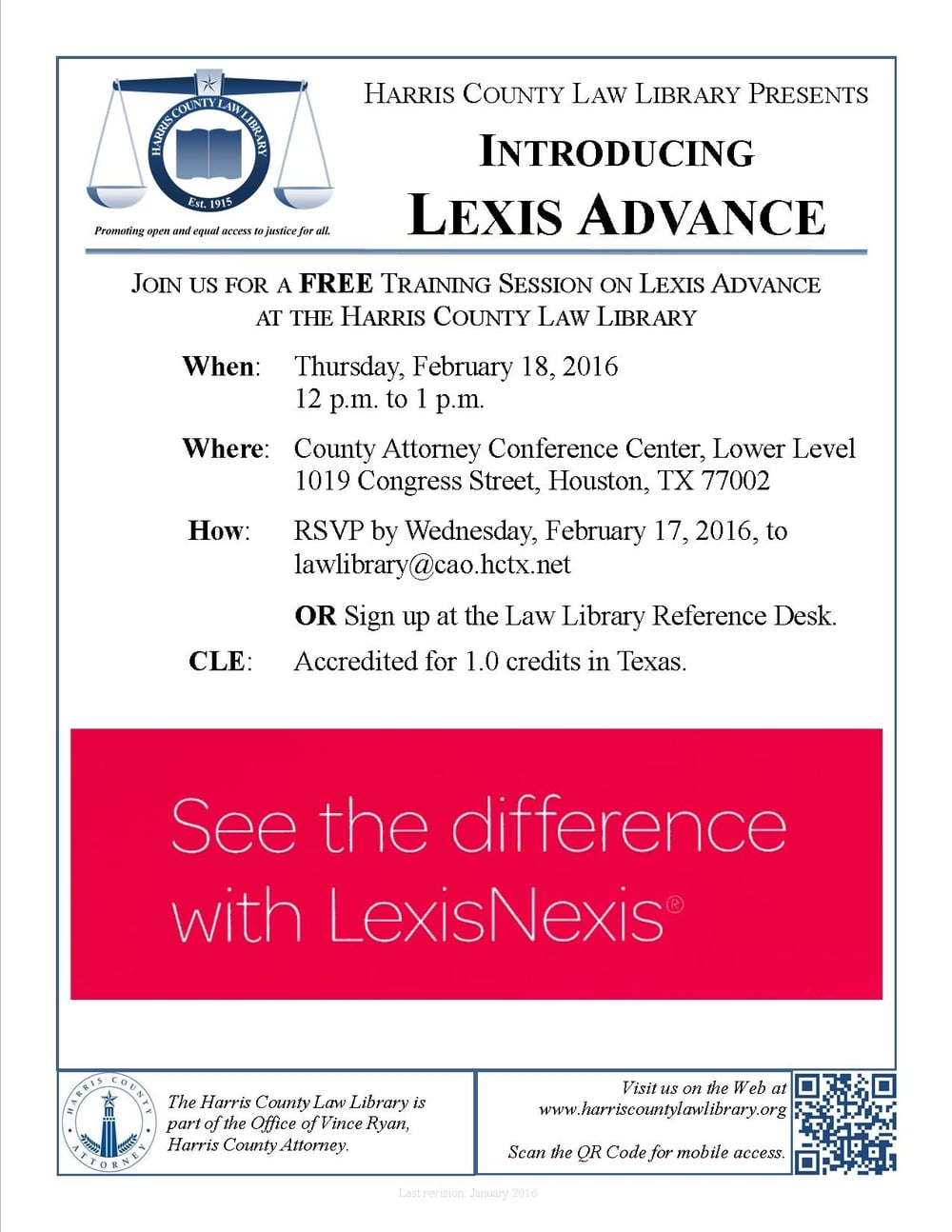 Link to PDF flyer for Lexis Advance training session on February 18.