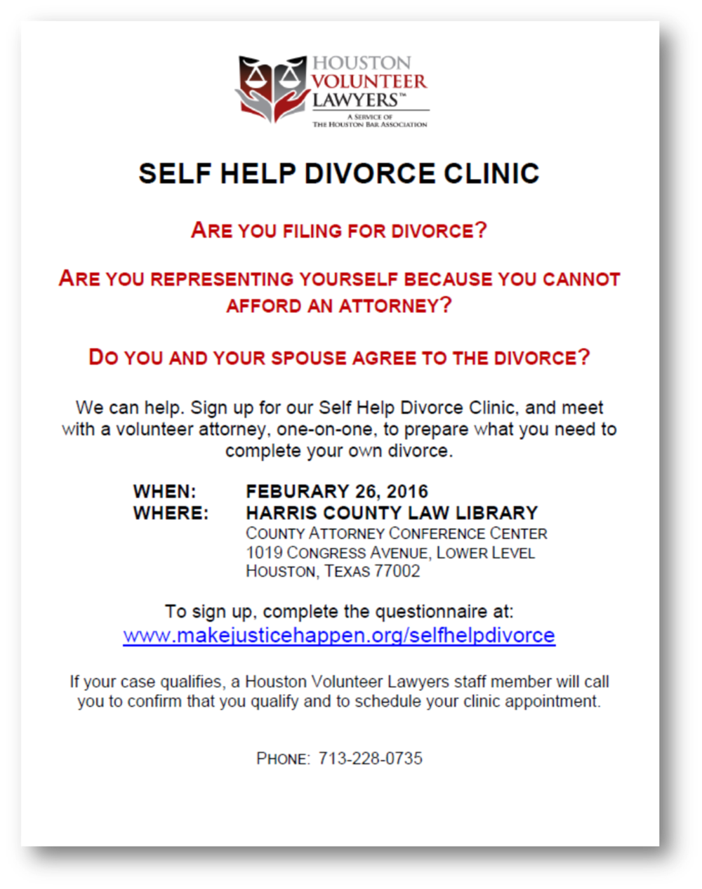 Link to event page with downloadable flyer for HVL Self-help divorce clinic - Feb. 26, 2016.