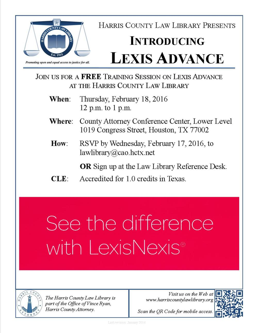 Link to Lexis Advance training event page - Feb. 18, noon to 1pm