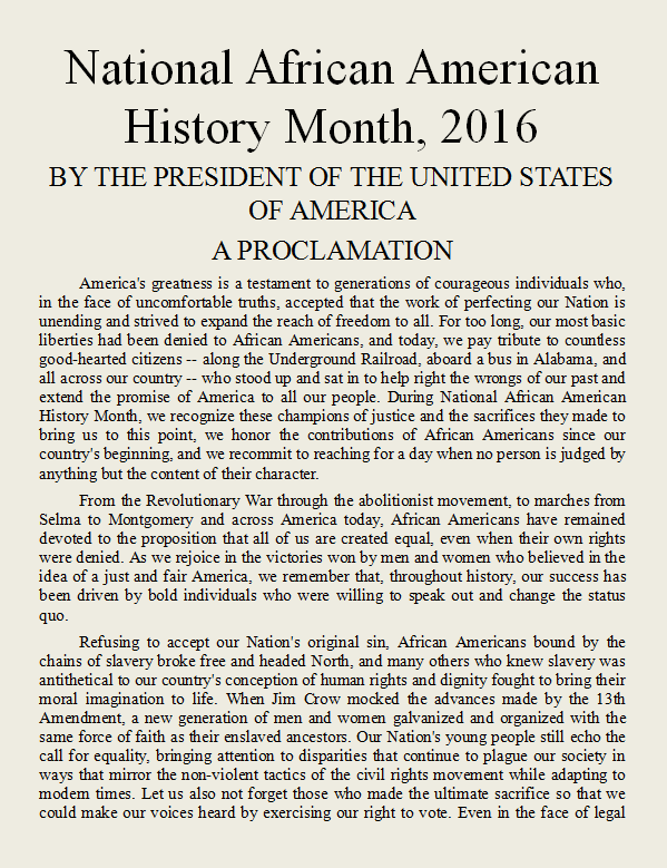 Link to Presidential Proclamation declaring February 2016 to be National African American History Month