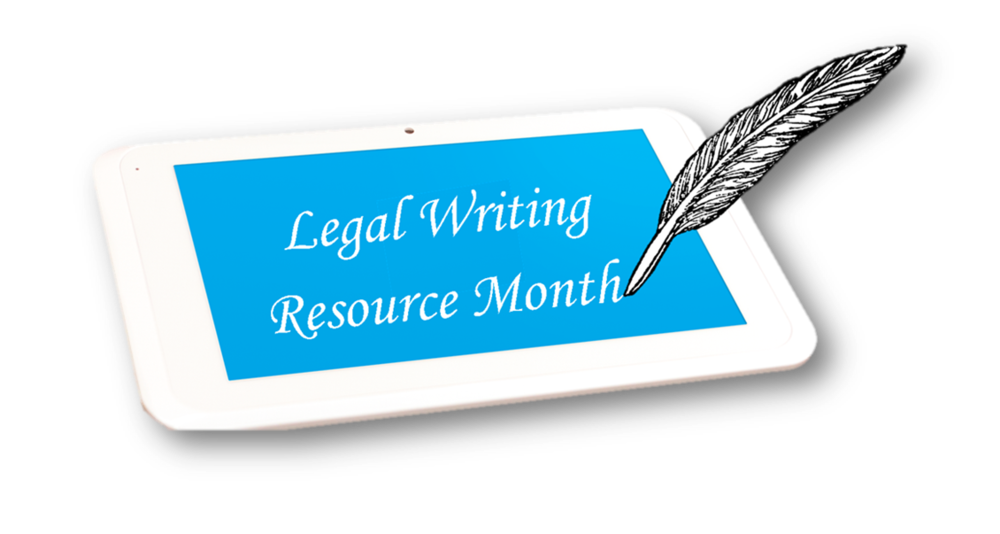 "Quill writing on tablet displaying words ""Legal Writing Resource Month"" - click to visit the Harris County Law Library Events page."