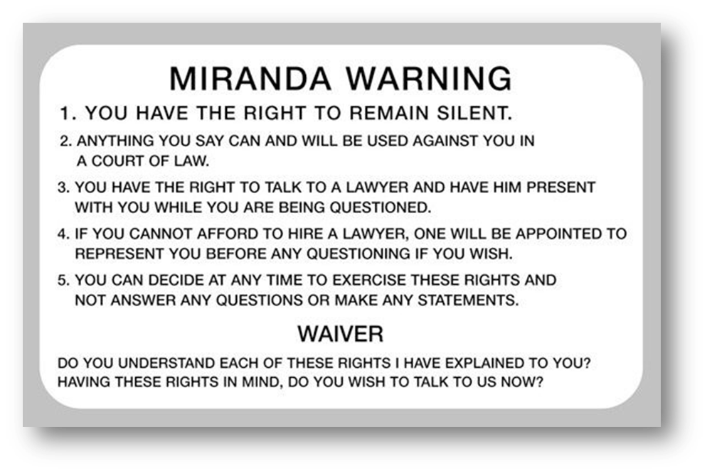 Miranda warnings card - click to visit ABA page with link to full card.