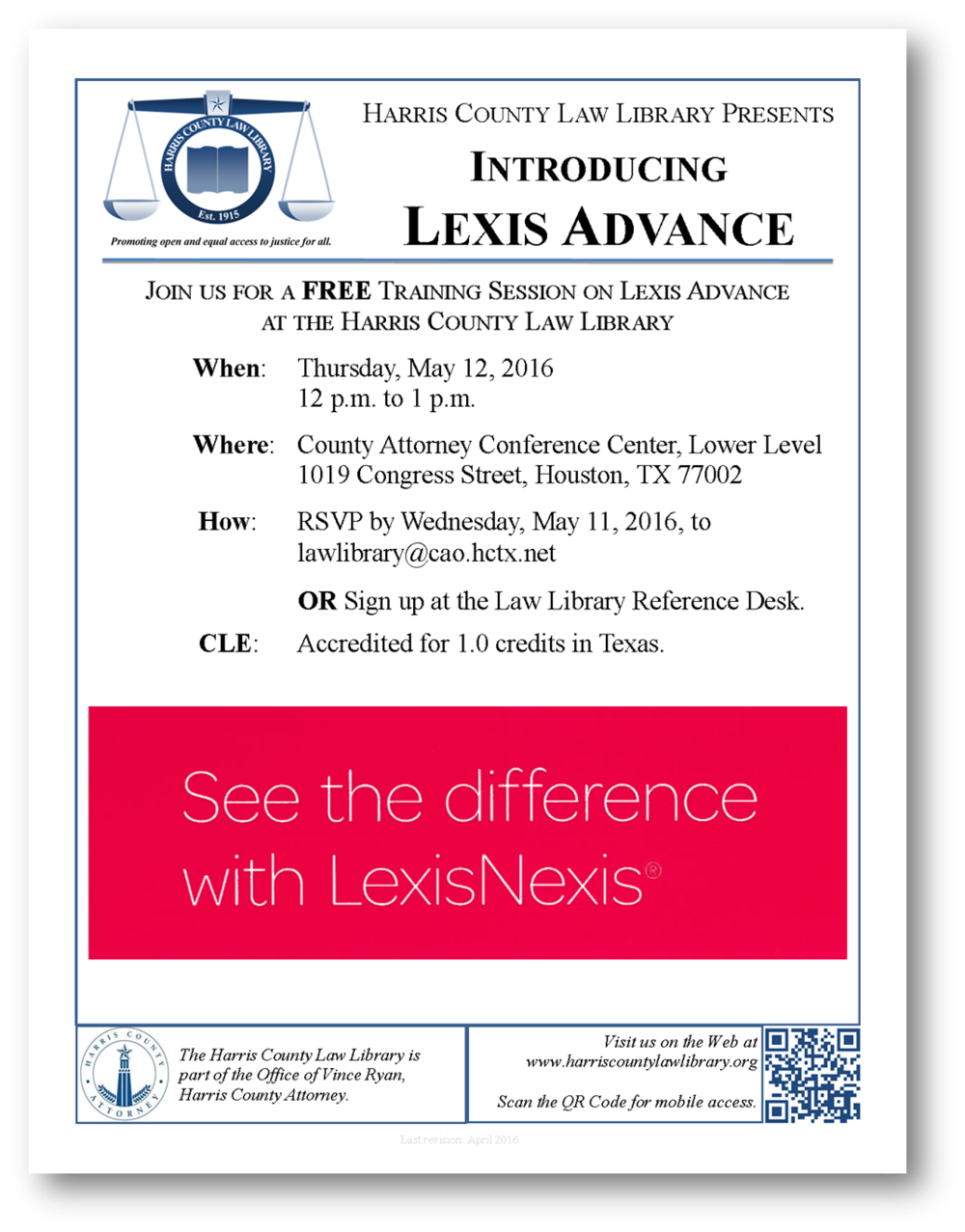 Click for flyer about Lexis Advance training session at Harris County Law Library on May 12