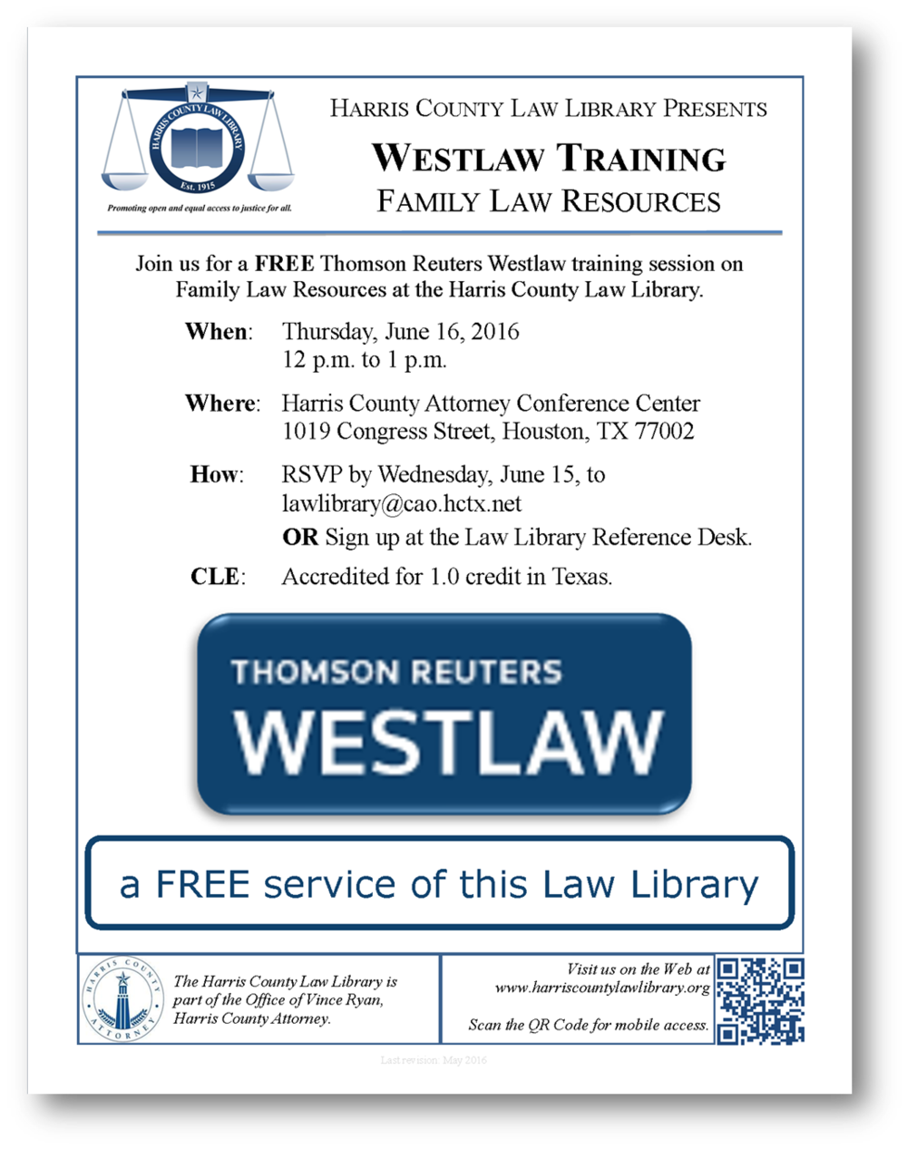 Click to download flyer for June 16 Westlaw CLE at the Harris County Law Library.