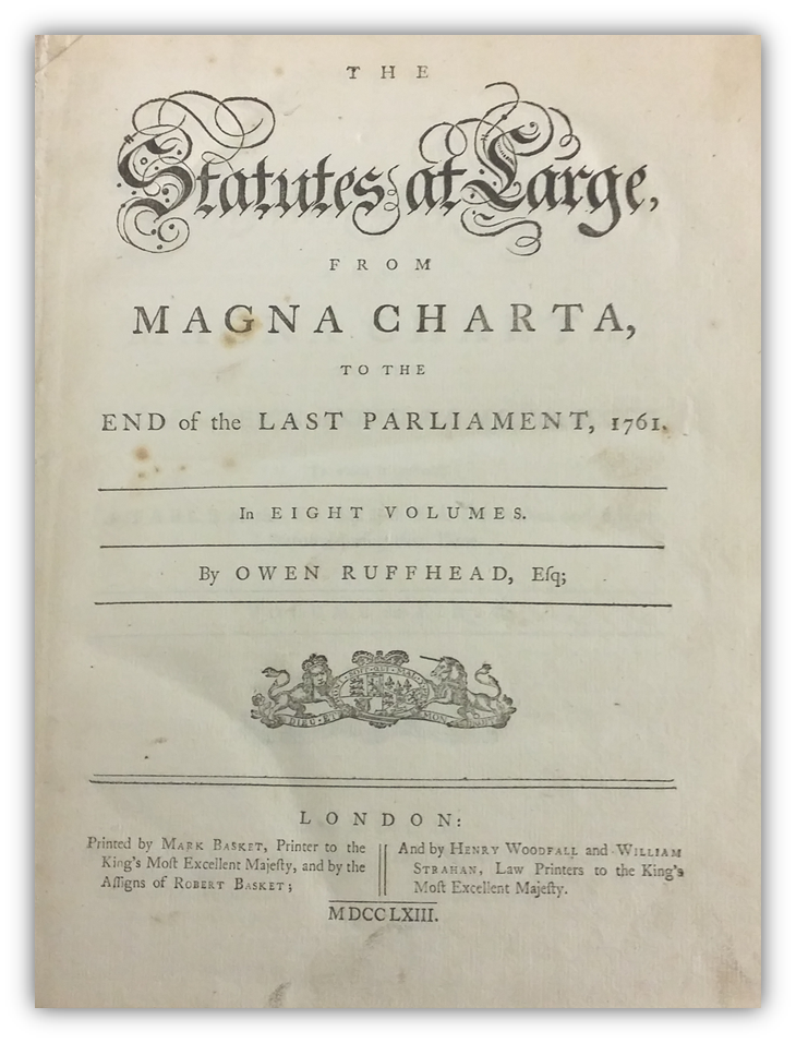Title page of 1763 Magna Carta on display at the Harris County Law Library - June 2016