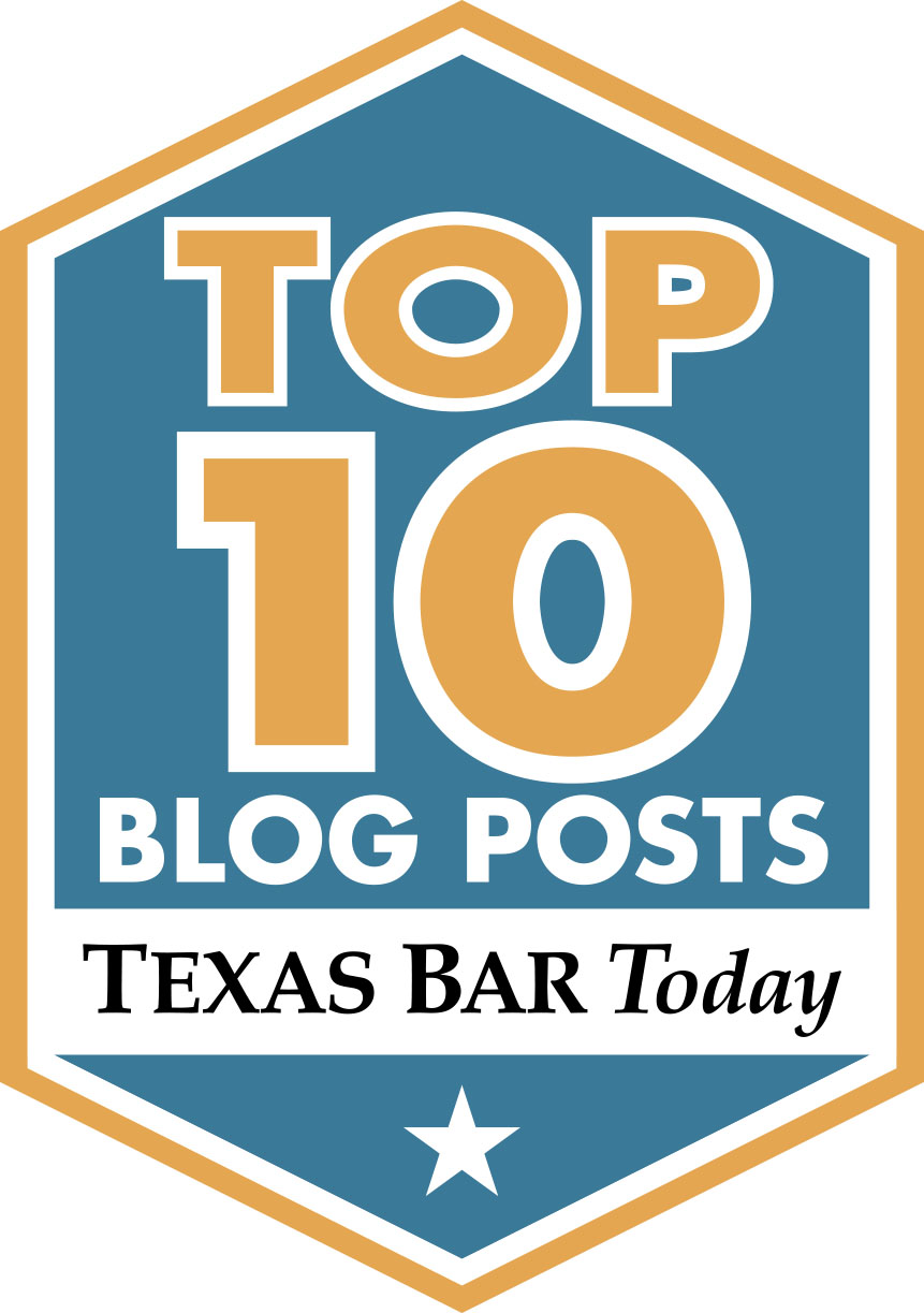 Link to Texas Bar Today Top 10 list published September 2, 2016.