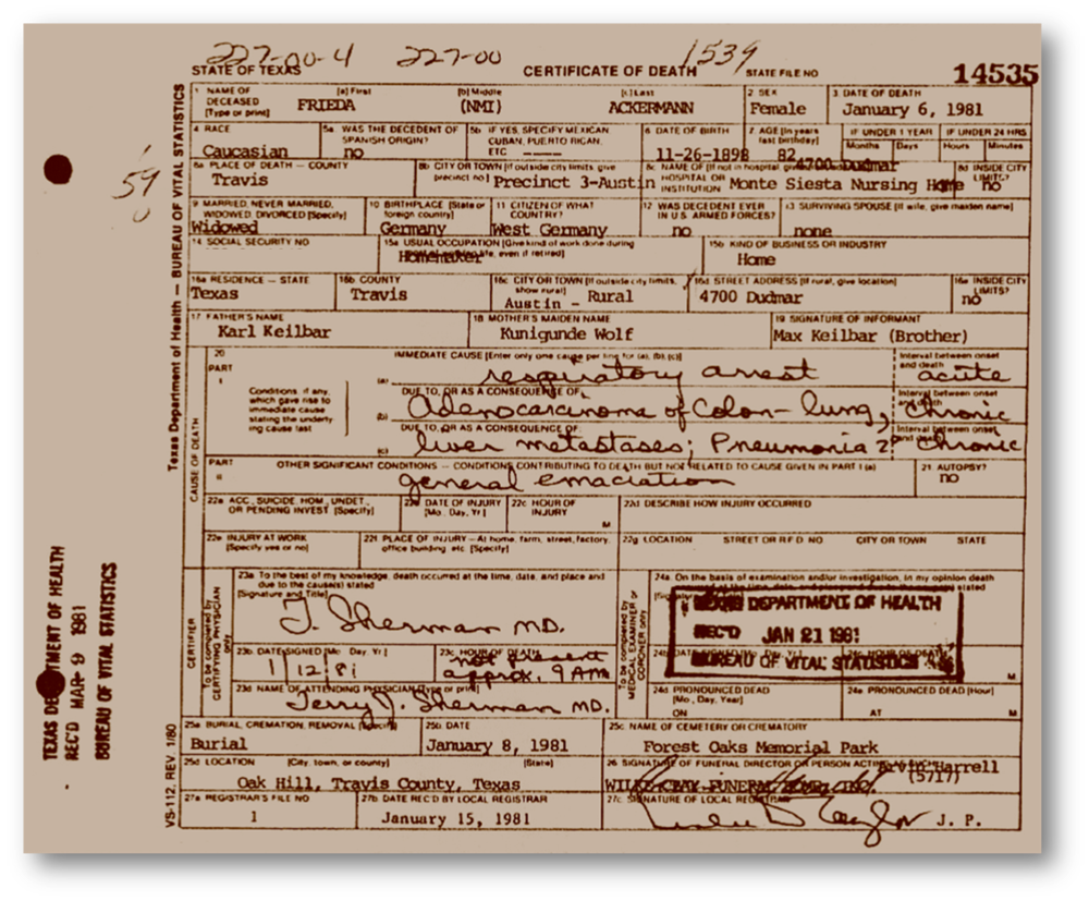 Texas Death Certificate - Frieda Ackermann