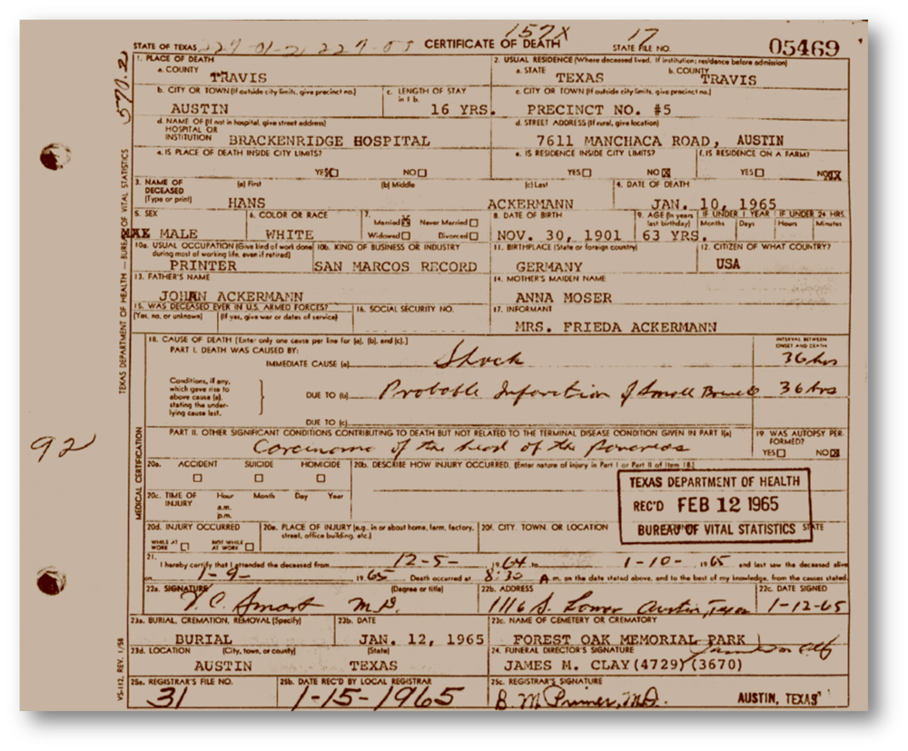 Texas Death Certificate - Hans Ackermann