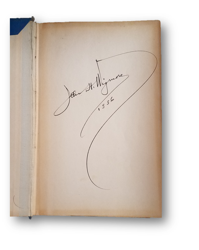 The Harris County Law Library's signed copy of John Henry Wigmore's Panorama of the World's Legal Systems. Signature dated 1936.