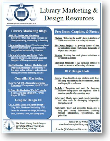Harris County Law Library - Library Marketing & Design Resources - SWALL 2017 handout