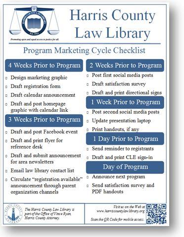 Harris County Law Library - Program Marketing Cycle Checklist - SWALL 2017 handout
