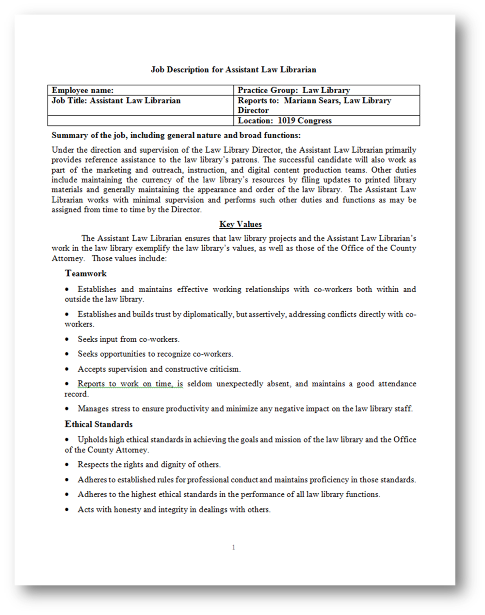 "Click to download PDF of ""Job Description for Assistant Law Librarian"""
