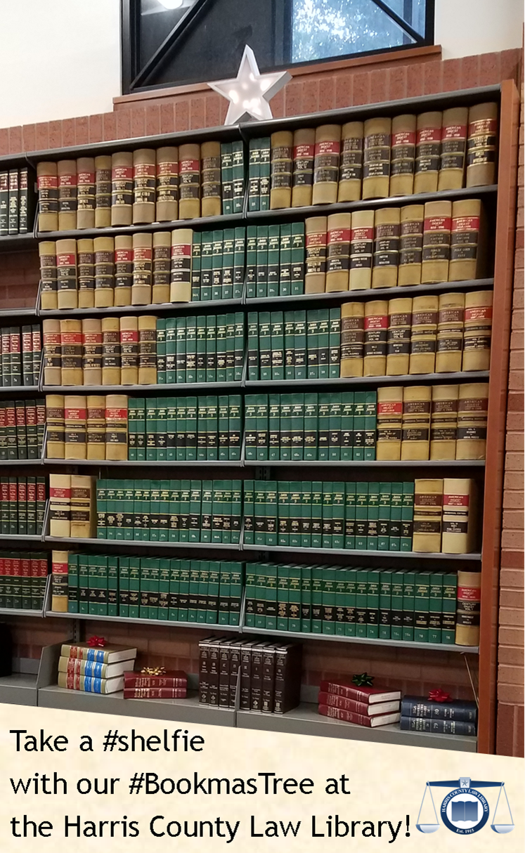 Take a #shelfie with our #BookmasTree at the Harris County Law Library!
