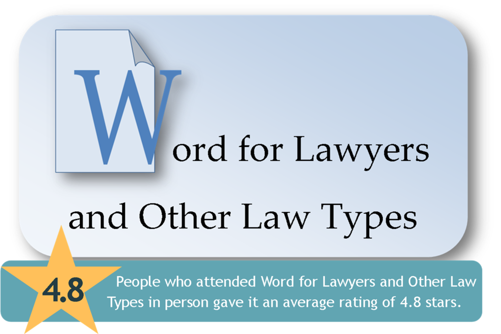 Link to Word for Lawyers and Other Law Types CLE page from the Harris County Law Library's Legal Tech Institute.