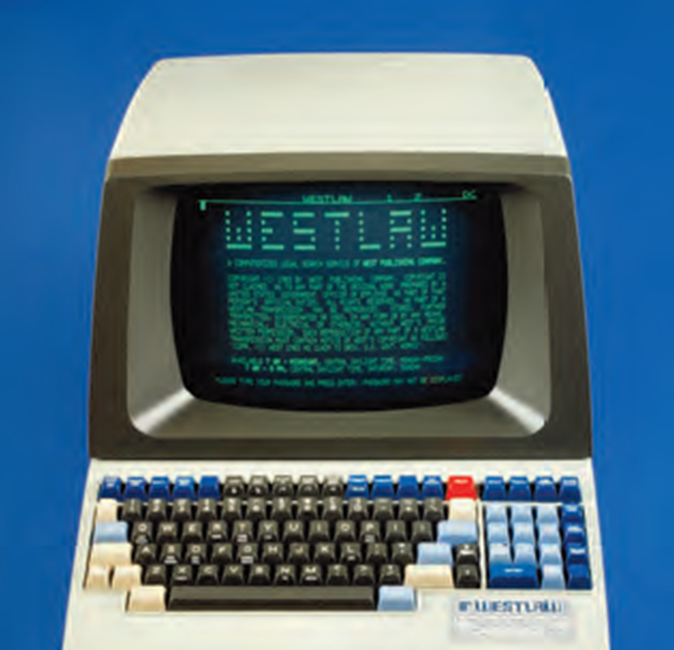 Westlaw Automated Law Terminal (W.A.L.T.) (c. 1982) - a similar terminal was available in the Harris County Law Library as early as 1985.  {photo courtesy of Thomson Reuters}