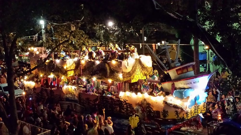 Krewe of Bacchus rolls down Saint Charles Avenue the Sunday night before Mardi Gras.
