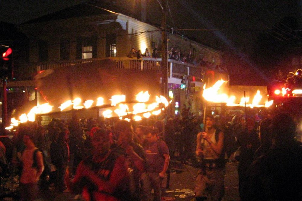 Flambeaux provide traditional-style lighting for Carnival Parades.
