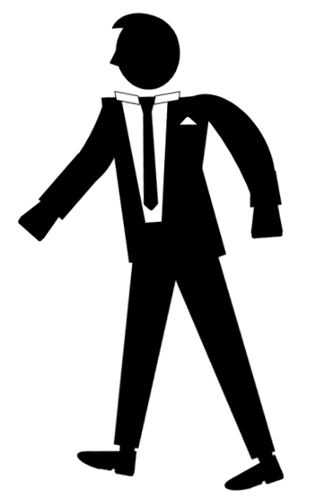 John Q. - Silhouette of businessman in suit and tie.