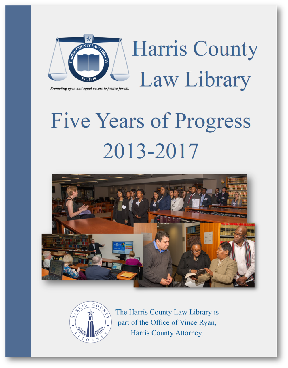 "The cover of ""Five Years of Progress: 2013-2107."""
