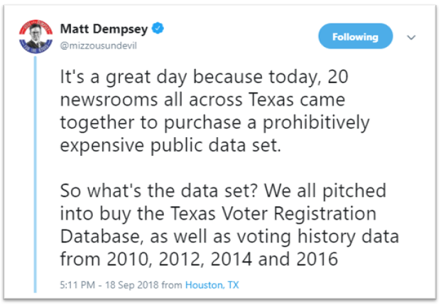 Matt Dempsey @mizzousundevil on Twitter announcing collaborative purchase of Texas voter registration data from 2010, 2012, 2014, and 2016.