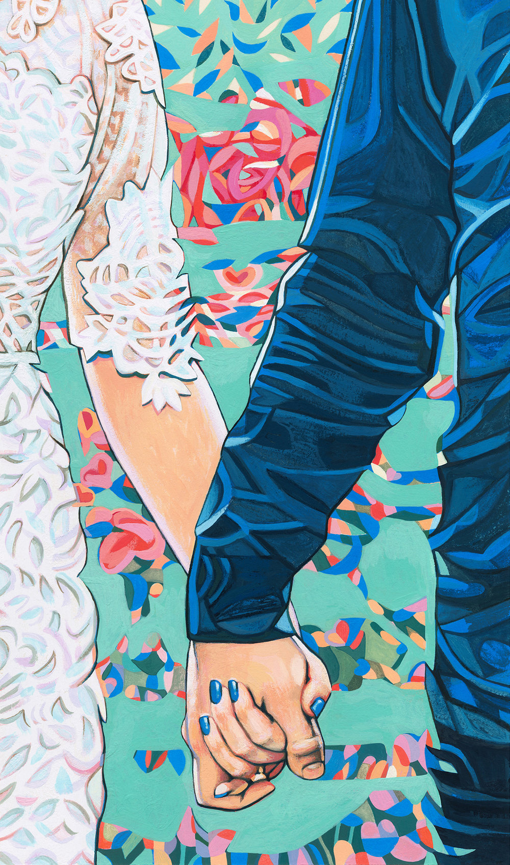 Reiko + Tyler, commissioned gouache wedding portrait.