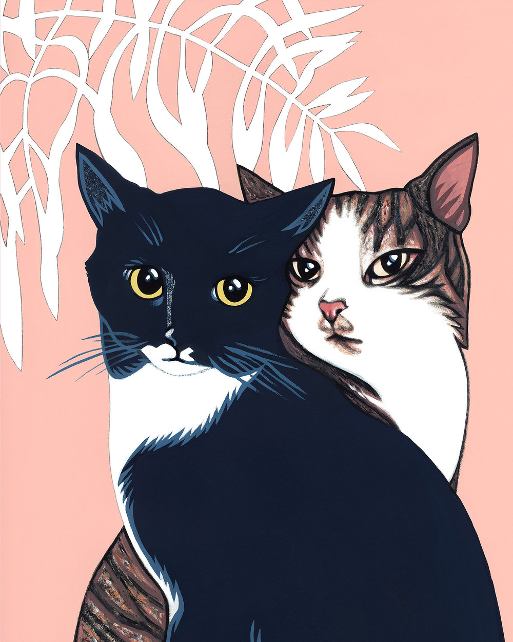 Lovecats,  commissioned gouache   cat portrait .