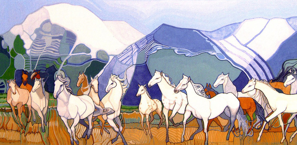 Wild Horses, commissioned gouache + ink painting.