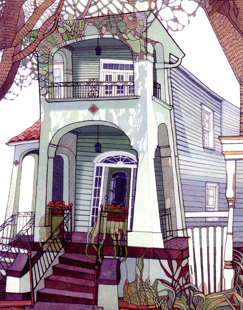 New Orleans Home, commissioned gouache + ink  house portrait .