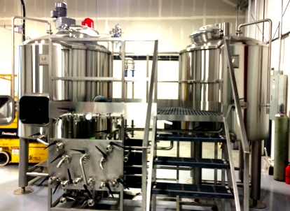 The unused and brand new 10 bbl brewhouse at Ghost Runners Brewery in Vancouver, WA - designed by Mark's Design and Metal Works, the same company who will be doing our 20 bbl set up