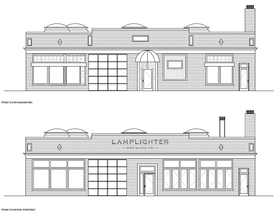 Existing and proposed front elevation for 284 Broadway