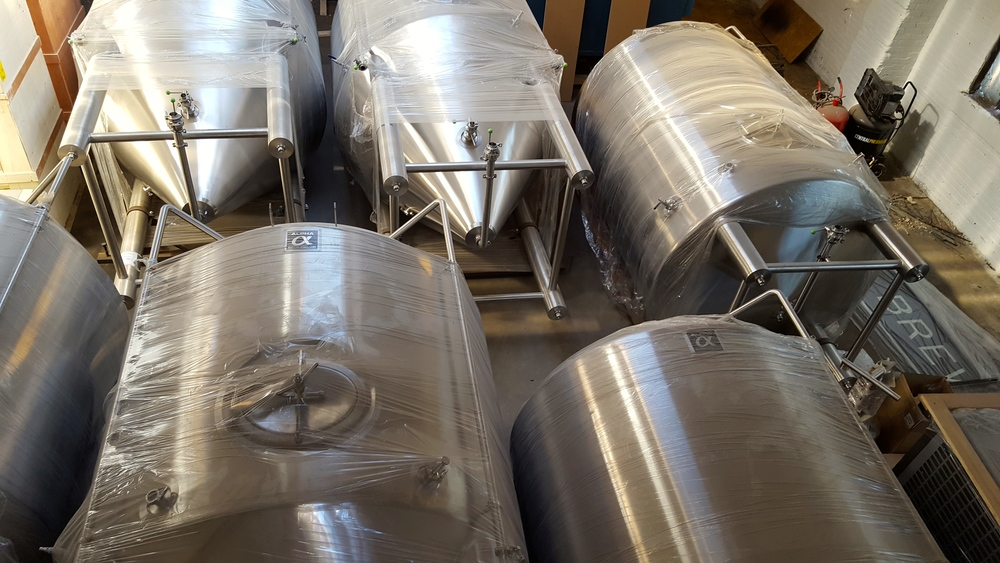 (courtesy shot to remind you that we are still a brewery - not a construction company - and do hope to prop these tanks upright soon)