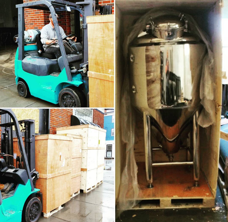 Our pilot brewing (3bbl) system was delivered in a bunch of crazy wooden boxes and is snugly housed in the back of the building waiting to be hooked in