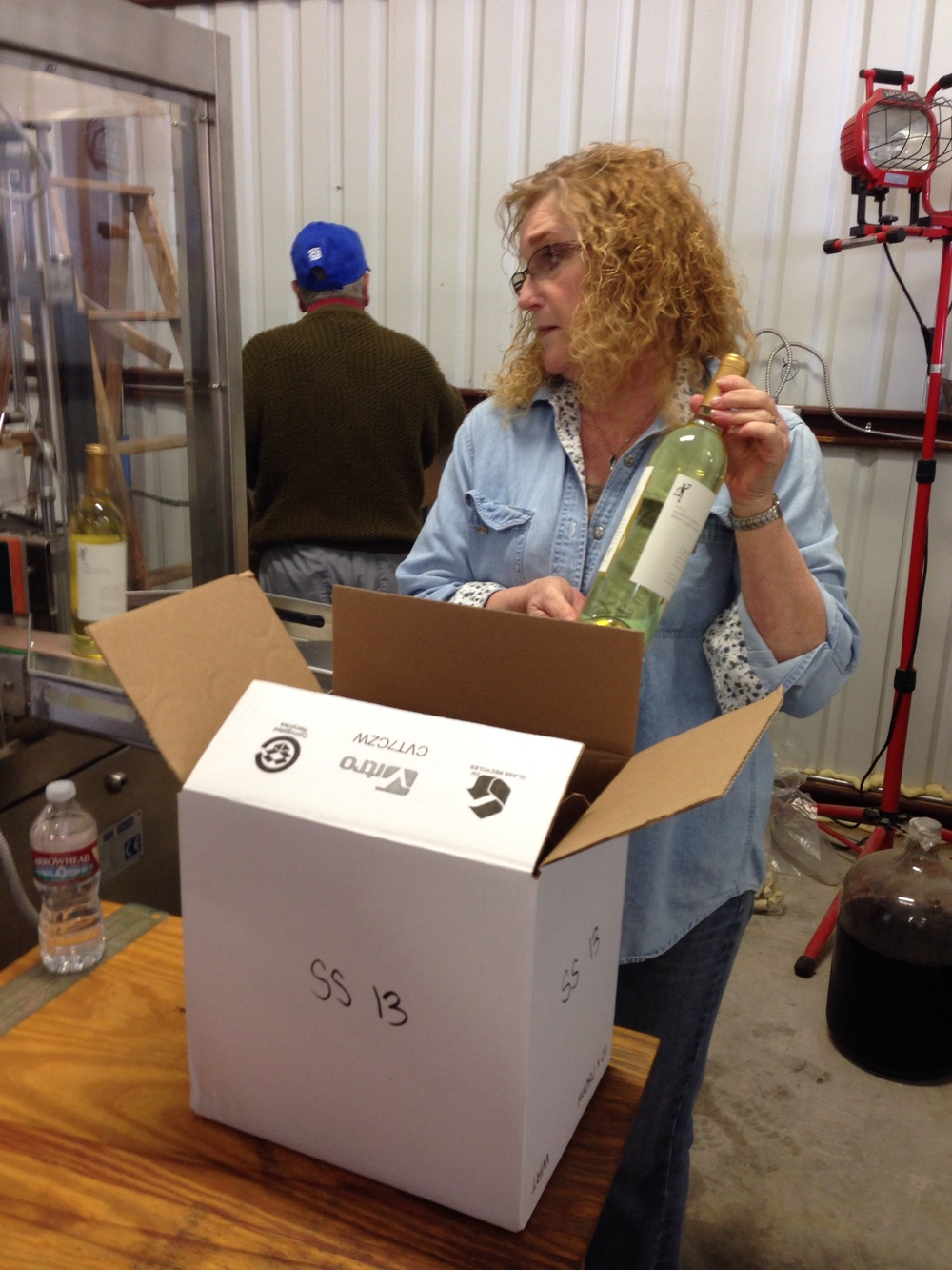 Our loyal friend Deb helping to box up new supply