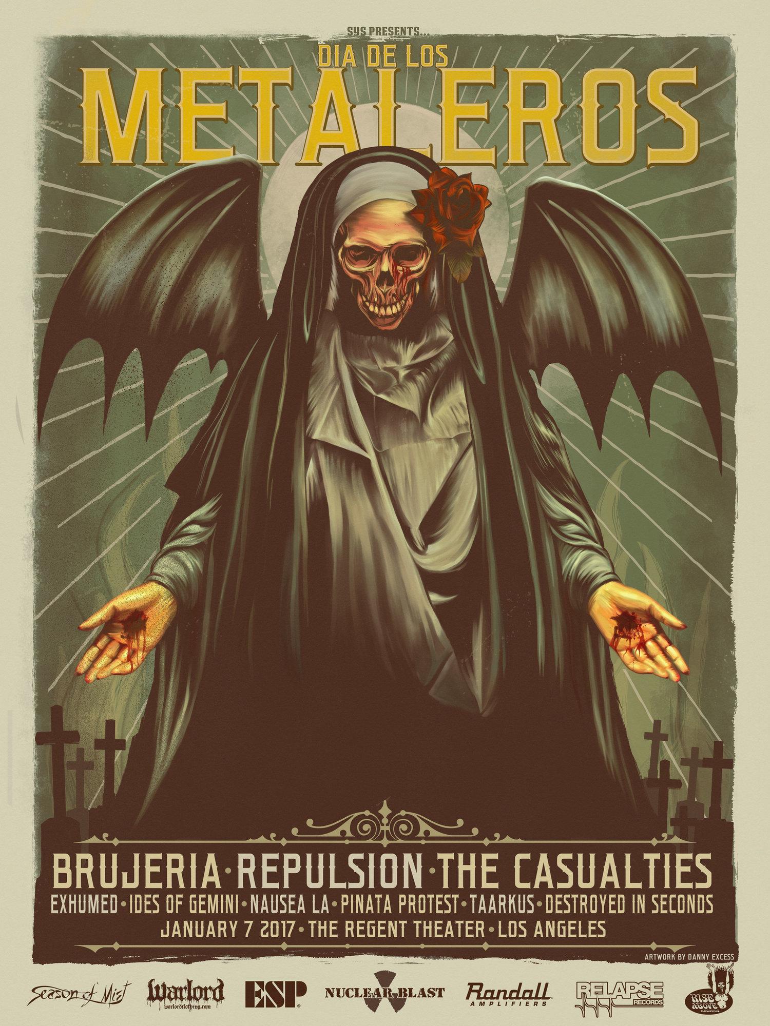 Dia De Los Metaleros  Danny Excess - Los angeles posters vintage