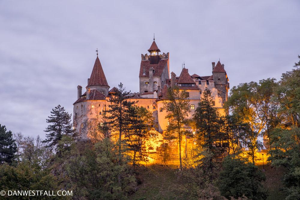 """Castle Dracula"" at dusk. Bran, Romania #0934"