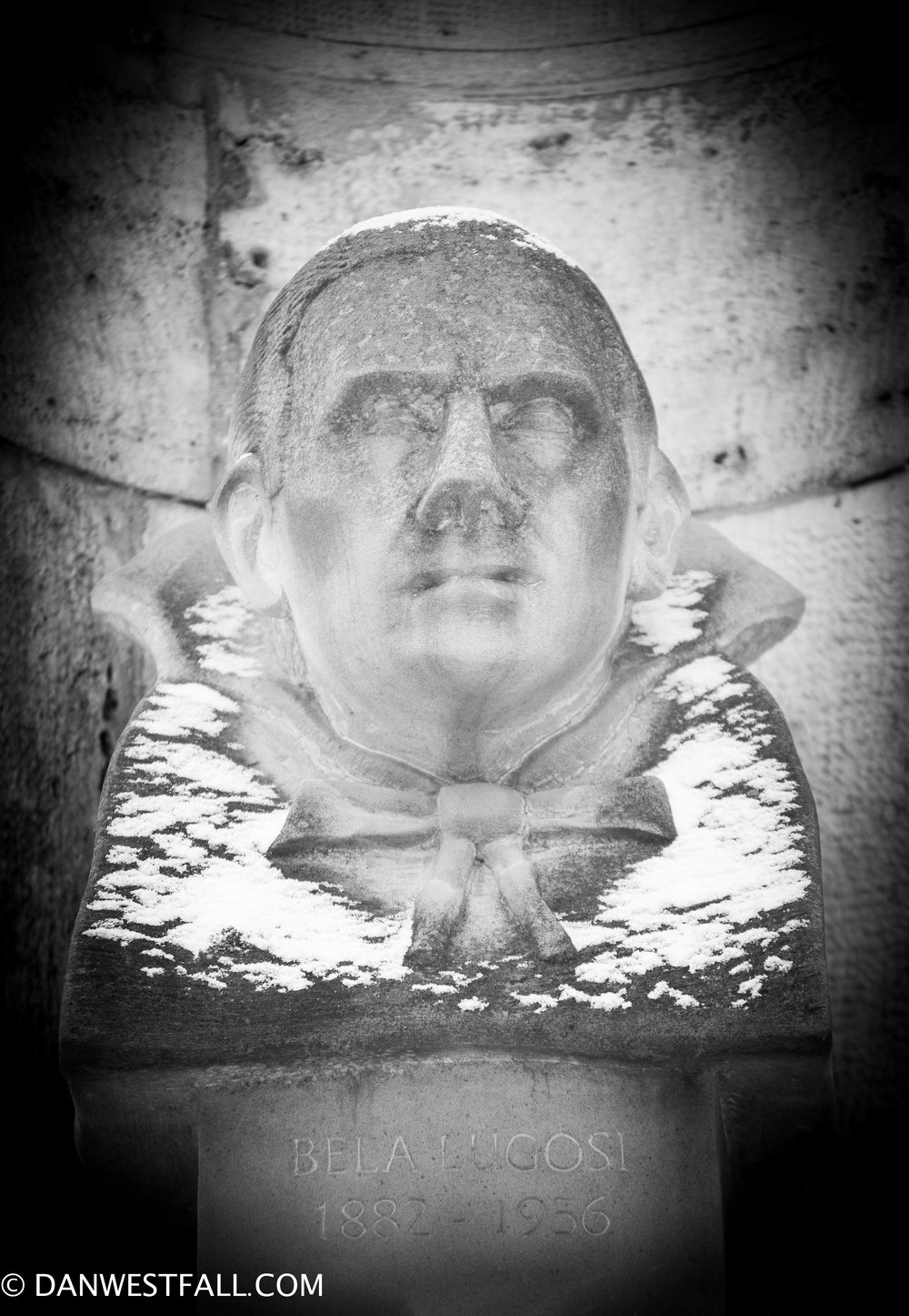 Only public sculpture of Bela Lugosi. Shot with snow. Budapest #0935