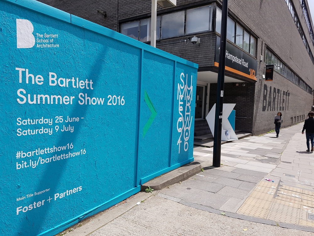 140 Hampstead Road.  The entrance to the current temporary building for the Bartlett students due to the refurbishment project of the old Wates House.