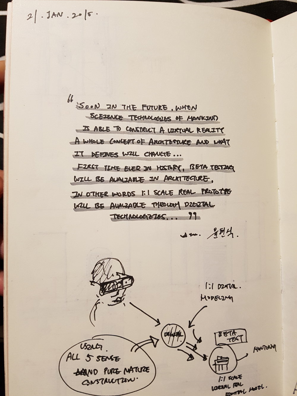 A photo of a page in one of the sketchbook written during the Paris field trip in year 1 at The Bartlett School of Architecture, UCL