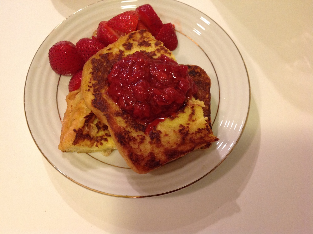 french toast with strawberry compote