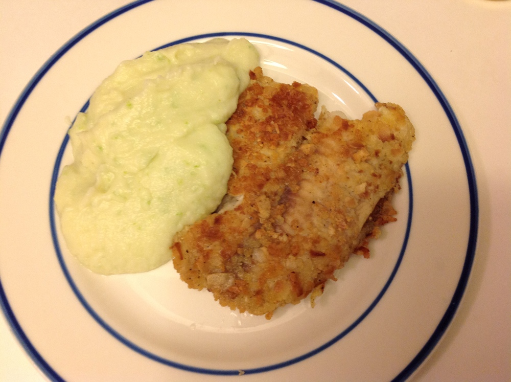 "Jalapeño Goat Cheese Cauliflower Mashed ""Potato"" with Toasted Coconut Crusted Fish"