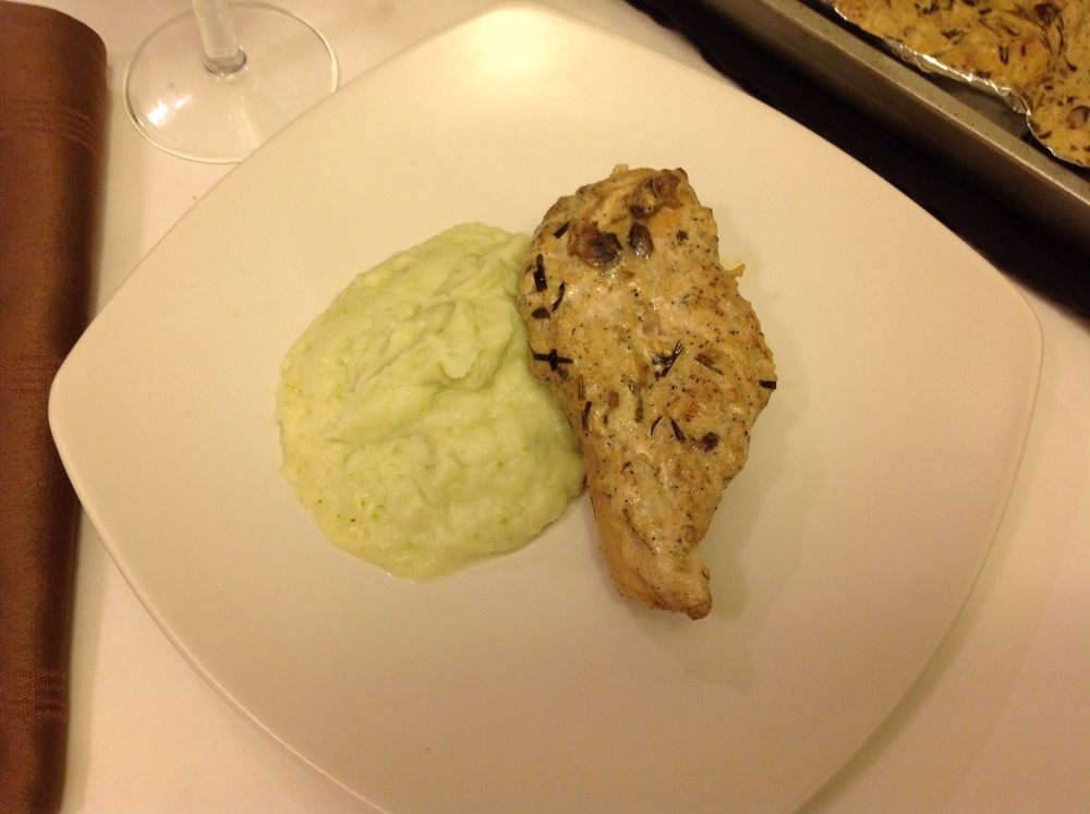 "Jalapeño Goat Cheese Cauliflower Mashed ""Potato"" with Mushroom Terragon Chicken"