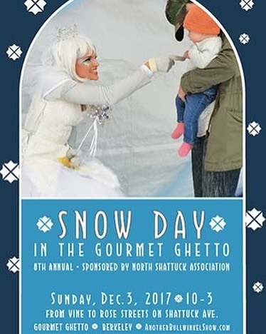 I won't be attending this event, but you can still stop by and play in the snow and pick up some of my handmade pieces for the holidays!  Take a Snow Day in the Gourmet Ghetto! Sunday, December 3, 2017  1450-1500 Shattuck Avenue, Berkeley CA- Sunday dec 3rd, 10-3 pm  Bring Boots & Mittens to Play in the Snow  Visit with the Snow Queen • Pony Rides Make Holiday Crafts • Arts & Crafts Vendors • Hot Cider and Cookies  Visit with the Snow Queen as she listens to all of your holiday wishes, ride the live ponies, make free DIY crafts for kids, and shop for one-of-a-kind holiday gifts from local art, craft, and artisan food vendors. Find the 'Ice' in your Snowball One has a real diamond ring inside! - sponsored by M. Lowe & Co. as a benefit for the Berkeley Schools. There are musicians, dancers, and a balloon twister to make the day fun! This is a free event for children of all ages sponsored by the North Shattuck Association in conjunction with M. Lowe & Co., Buy Local Berkeley, Spokes, the East Bay Express, Berkeley Community Media, and East Bay Loop. The Gourmet Ghetto is just 6 blocks north of the Downtown Berkeley BART station and has festive lights in over 50 trees. Free street parking on Sundays. Free valet and bike parking by Spokes.