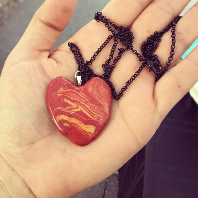 One of my handmade polymer clay necklaces, check out my Etsy for more listings ❤️
